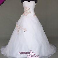 ♥NEU:Gr.34,36,38,40,42,44,46,48,50,52 od 54 Brautkleid Hochzeitskleid Weiß+W069♥