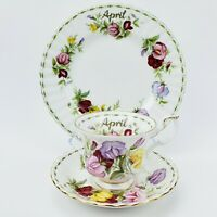 Royal Albert Flower Of The Month April Sweet Pea Tea Cup Saucer Trio