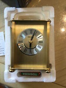 Seiko Desk And Table Carriage Clock Gold-Tone Solid Brass  New open Box (AL)