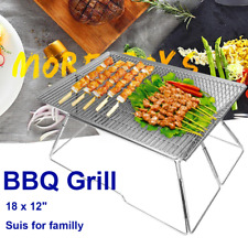 Portable Folding Stainless Steel Bbq Grill Camping Picnic Outdoor Charcoal Usa