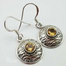 """Art Jewelry, 92.5% Pure Sterling Silver Yellow Citrine Tribal Earrings 1.3"""""""