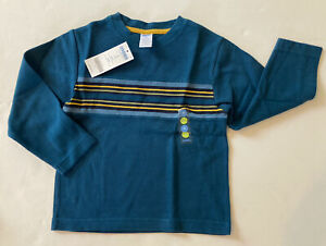 NWT Gymboree Night Forest 4 4T Blue Green Engineer Stripe Ribbed Long Sleeve Tee