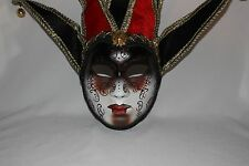 RED GOLD BLACK JOKER VENETIAN MASQUERADE MASK MARDI GRAS CARNIVAL PARTY