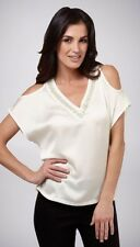 Size 22 UCW White Cold Shoulder V Neck Beaded Summer Tunic Top
