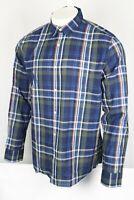 Banana Republic Men's Untucked Slim Fit Plaid Shirt Button Down XL Navy 532642