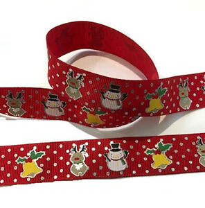 Christmas ribbon 21mm wide 1 metre long Xmas, gift wrapping, cake decoration