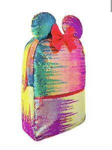 Disneyland Disney World Parks rainbow Minnie Mouse Sequin Backpack Bow New