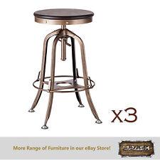 Wooden Iron Bar Stool Kitchen Chair Breakfast French Brass (Set of 3)