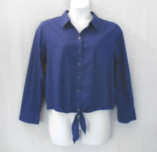 Chico's 3 Blue Cotton Stretch Tie Front Blouse Women's Size Large NEW $79
