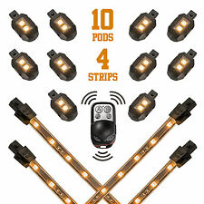10 Compact Pods + 4 Flex Strips Remote Control_Motorcycle_Accent_Light_Kit-AMBER
