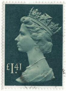 QE11..1 POUND 41p GREYISH/BLUE STAMP USED..PRODUCTION FROM17/9/85..PERF 14x15