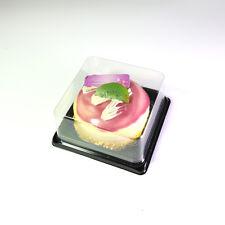 100pcs Mini Square BPA-Free Clear Plastic Black Base Mini Cake TakeOut Container