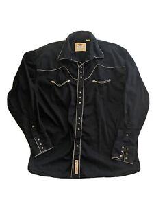 Larry Mahan Men's Cowboy Collection Pearl Snap Western Shirt Black Sz 2XL XXLg
