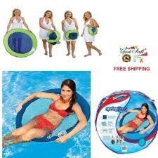 ORIGINAL Swimways SpringFloat Papasan Folding Chair Light Blue Pool Party Lounge