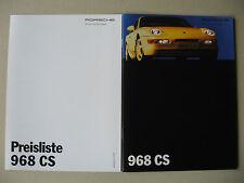 Prospectus + Original Tarif PORSCHE 968 CS Clubsport 3,0 240 ch modèle 1993
