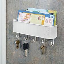Mail Key Holder Letter Rack Hanger Hook Wall Mount Storage Organizer White