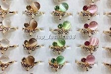 Wholesale Lots 25Pcs Cherry Rhinestone Cat Eye Gemstone Gold P Rings Free