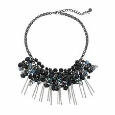 NEW! Simply VERA WANG Black & Blue Beaded & Fringed Necklace FREE SHIPPING!
