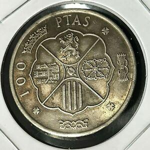 SPAIN 1966 SILVER 100 PESETAS HIGH GRADE COIN