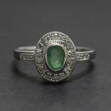 Art Deco .84ctw Emerald & Diamond .925 Sterling Silver Ring Size 6.5