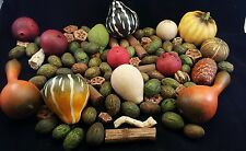VINTAGE PRIMITIVE CARVED COLORFUL WOOD PLASTIC GOURDS NUTS SEEDPODS DECOR CRAFTS