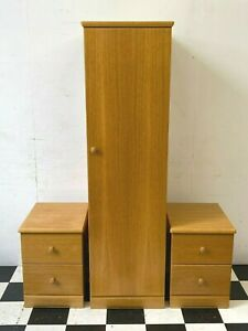 Modern Ellis oak single wardrobe and pair of bedside chest of drawers - Delivery