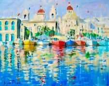 "11""X14"" AskArt Listed Artist Nino Pippa Original Painting Malta Fishing Village"