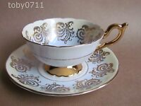 FOLEY E BRAIN CABINET CUP & SAUCER TWO TONE DECORATION WITH FLOWERS & GILT