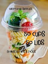 Pack of 50 Parfait Cup / Clear Plastic 16 oz Cup and Dome Lids w/ Signature Pick