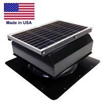 """14"""" SOLAR ATTIC FAN - 3000 sqft - 1875 CFM - 40w - Self Flashing Attach - Black"""