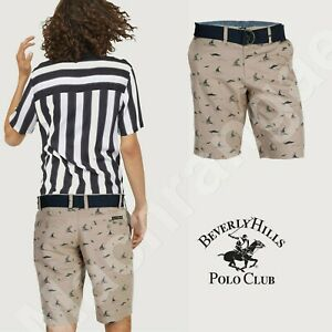 Mens Cotton Belted Chino Shorts All Over Print Casual Summer Bottom Knee Pants