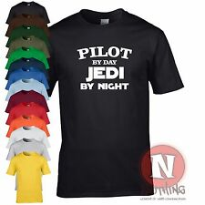 Pilot by day, Jedi by night fun retirement leaving birthday Star Wars t-shirt