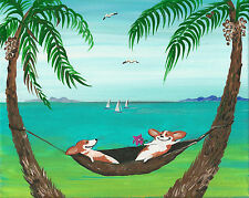 8x10 Print Of Painting Ryta Pembroke Welsh Corgi Seascape at the Beach dogs folk