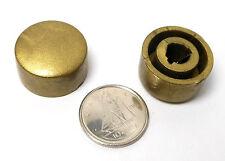 "NOS Push-On 1/4"" D-Shaft Vintage Deco Gold Plastic KNOBS RADIO HAM PANEL x2 Pcs"