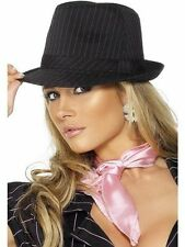 Womans Black Trilby Style Hat Sexy Pink Pin Stripes Fancy Dress Hen Gangster Mob
