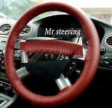 FITS FORD TRANSIT MK7 06-10 DARK RED ITALIAN LEATHER STEERING WHEEL COVER
