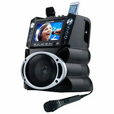 Karaoke USA Portable Speaker Entertainment System with Two Microphones Included