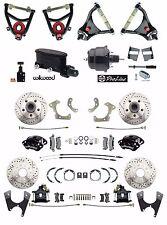 Tri-Five 4 Wheel Black Power Disc Brake & Control Arm Kit w/ Wilwood Components