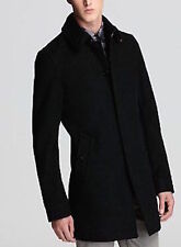 BURBERRY BRIT MEN'S BRAMWELL WINTER PEA COAT BLACK WOOL JACKET  NOVA CHECK LARGE