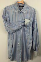 Bugatchi mens XL dress shirt, blue/white stripe, Size XL, Contrast cuff/collar