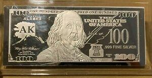 """1 Troy oz .999 Fine Silver Ben Franklin """"$100 Bill"""" AK Alaska State, COA"""