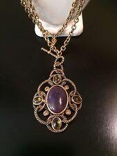 Vintage Monet Brushed Gold Tone Purple Faux Stone Filigree Pendant Necklace