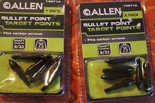 Lot 2 Allen Bullet Point Target Points 9/32 shaft 2 packs of 6 Points New