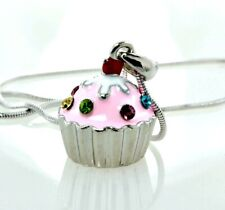 "Cupcake Necklace Made With Swarovski Crystal Pink Sweet Cake Pendant 18"" Chain"