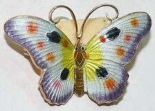 BUTTERFLY ANTIQUE ART DECO SILVER GOLD PL. ENAMELED MULTI COLOR HAND MADE BROOCH