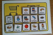 A5 Shopping List & 80 Symbols Visual Aid Pre School/Autism/ASC/ASD/ADHD/SEN