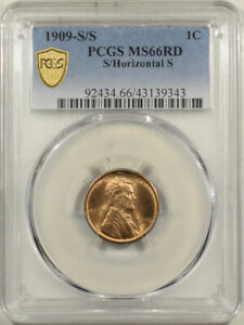 1909-S/S LINCOLN CENT - PCGS MS-66 RD S/HORIZONTAL S, BLAZING RED!!