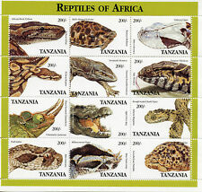 Tanzania 1995 MNH Reptiles of Africa 12v M/S Snakes Lizards Tortoises Stamps