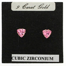 END OF LINE.- 9 CARAT GOLD STUD EARRING WITH TRILLION CUT CZ STONES. 4COLS £15