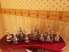 Black, Crystal & Silver Perfume Bottles Dresser Set Vanity Trays Lot Dollhouse*